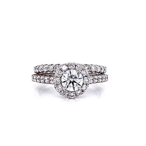 14kt White Gold Ladies 1.69ctw Round Diamond Halo Wedding Set
