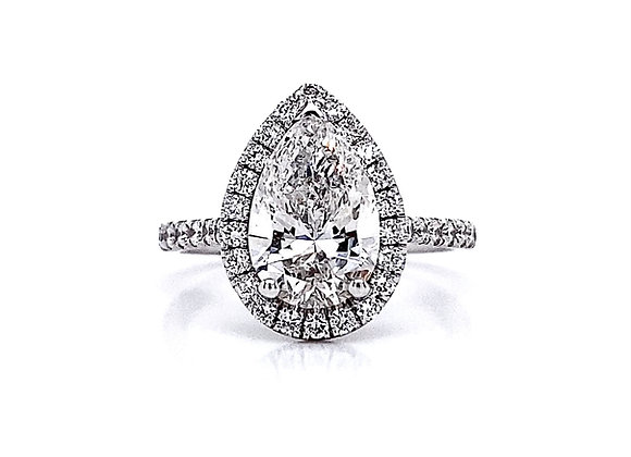 14kt White Gold Ladies 2.51ctw Pear Shape Diamond Halo Ring