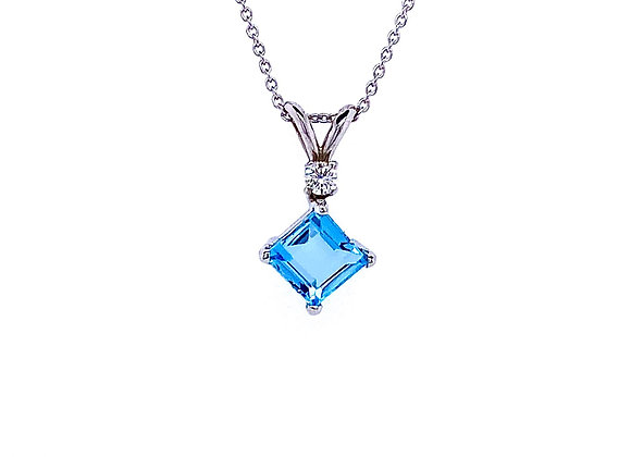 14kt White Gold Ladies Aquamarine Gemstone and Diamond Pendant