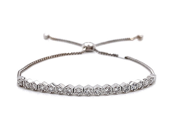 14kt White Gold Ladies 0.71ctw Vintage Round Diamond Bolo Bracelet