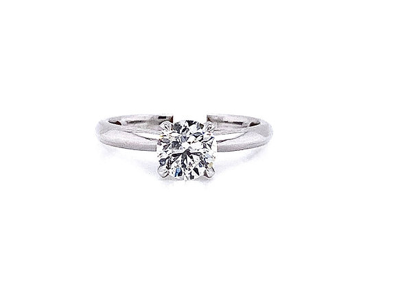 14kt White Gold 1.00 ct Round Diamond Solitaire Ring