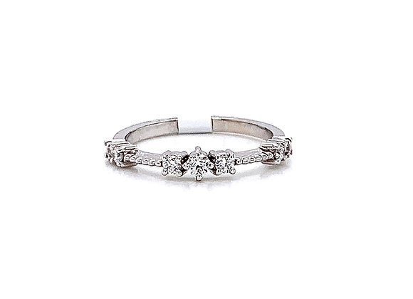 14kt White Gold Ladies Vintage Style Diamond Band