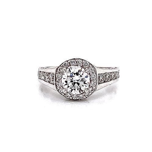 14kt White Gold Ladies Round Diamond Vintage Style Halo Ring