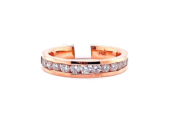 14kt Rose Gold Ladies Diamond Channel Band