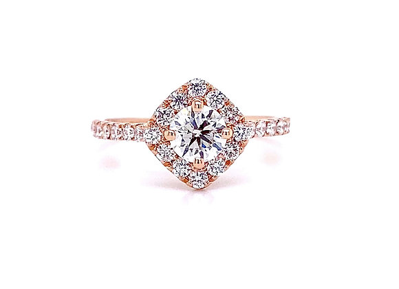 14kt Rose Gold Ladies 0.94ctw Round Diamond Canted Halo Ring