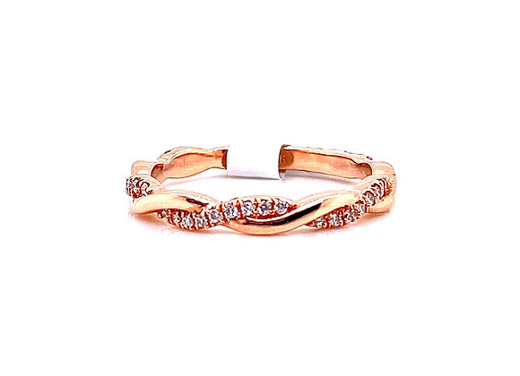 14kt Rose Gold Ladies Diamond Swirl Band