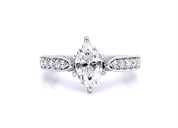 14kt White Gold 1.63ctw Marquise Diamond Vintage Style Ring