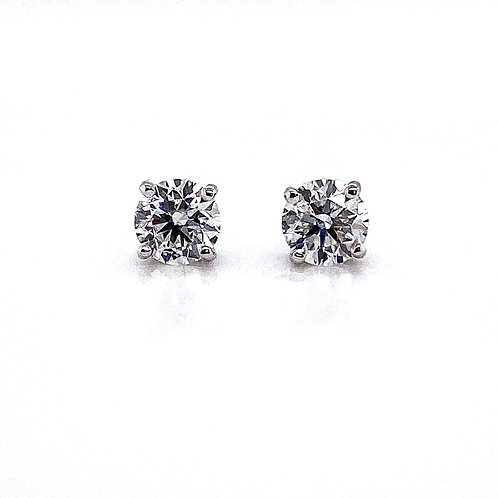 14kt White Gold Ladies 1.11ctw Round Diamond Stud Earrings