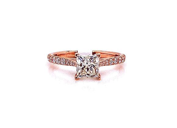 14kt Rose Gold 1.02ct Princess Cut Diamond Side Stone Ring
