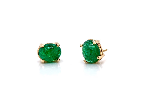14kt Yellow Gold Ladies 2.81ctw Oval Cabochon Emerald Gemstone Earrings