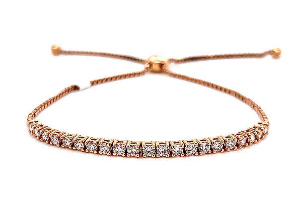 14kt Rose Gold Ladies 0.72ctw Round Diamond Bolo Bracelet