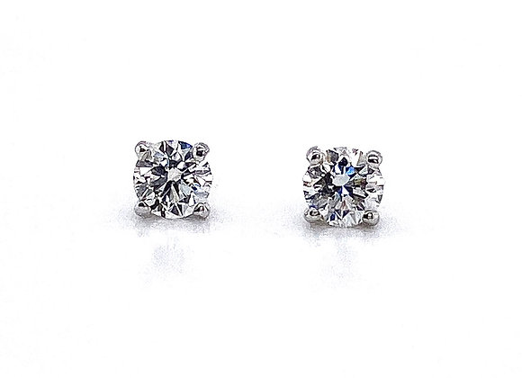 14kt White Gold Ladies 0.53ctw Round Diamond Stud Earrings