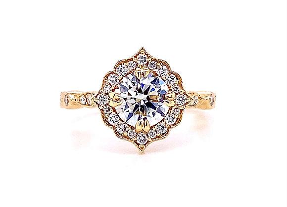 14kt Yellow Gold 1.29ctw Round Diamond Vintage Style Halo Ring