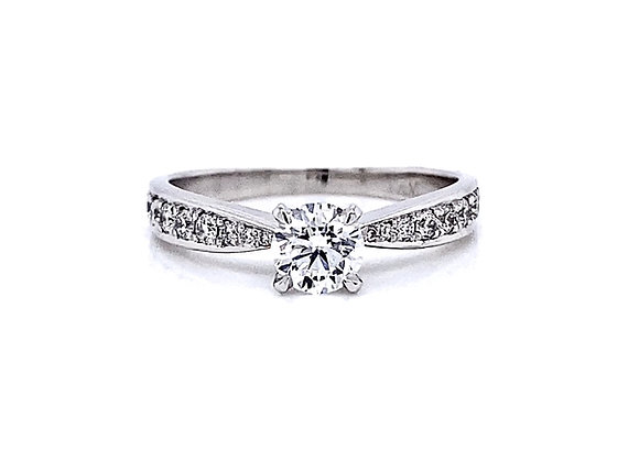 14kt White Gold 0.75ctw Round Diamond Vintage Style Ring