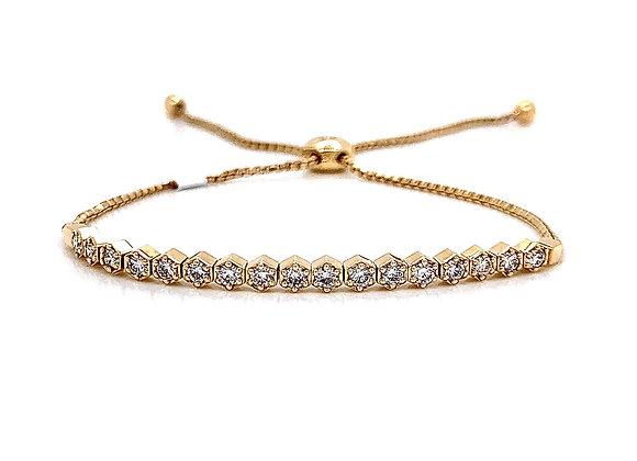 14kt Yellow Gold Ladies 0.71ctw Vintage Round Diamond Bolo Bracelet