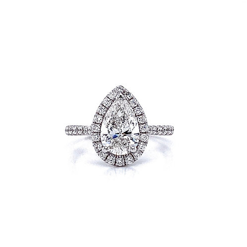 14kt White Gold Ladies 1.51ct Pear Shape Diamond Halo Ring