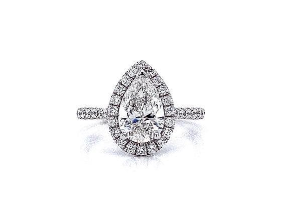 14kt White Gold Ladies 1.51ct Pear Shape Diamond Halo Ring