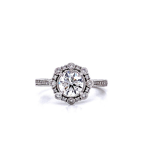 14kt White Gold Ladies 1.01ct Round Diamond Vintage Style Halo Ring