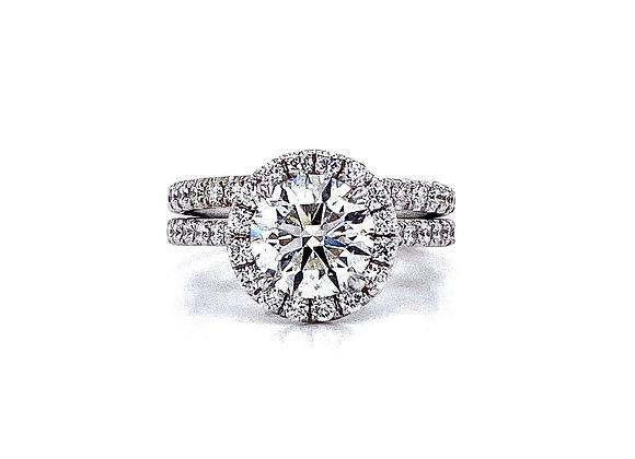 14kt White Gold Ladies 1.70ct Round Diamond Halo Wedding Set