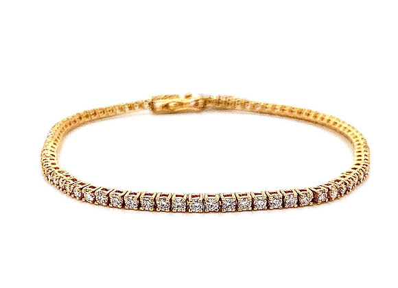 18kt Yellow Gold Ladies 2.04ctw Round Diamond Tennis Bracelet
