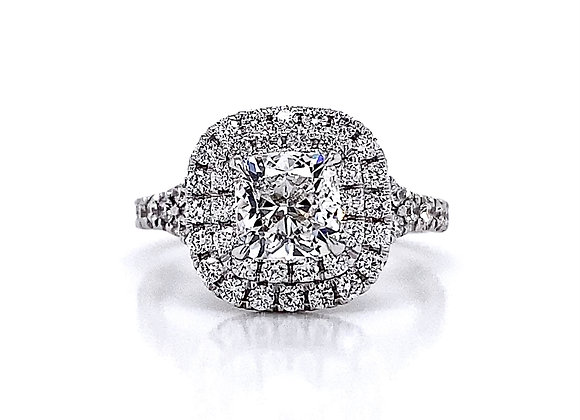 14kt White Gold Ladies 2.03ctw Cushion Cut Diamond Double Halo Ring