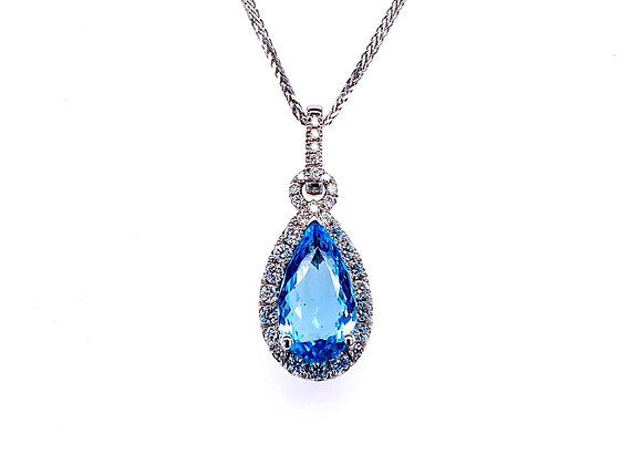 14kt White Gold Ladies Pear Shape Aquamarine and Diamond Halo Pendant