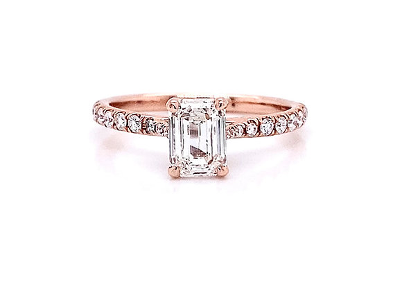 14kt Rose Gold 1.23ctw Emerald Cut Diamond Side Stone Ring
