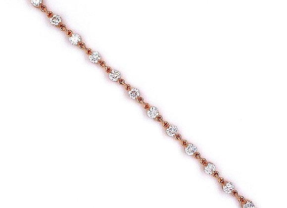 14kt Rose Gold Ladies 2.14ctw Round Diamond Tennis Link Bracelet