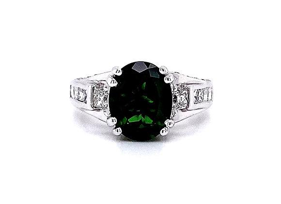 14kt White Gold Green Tourmaline Gemstone and Diamond Side Stone Ring