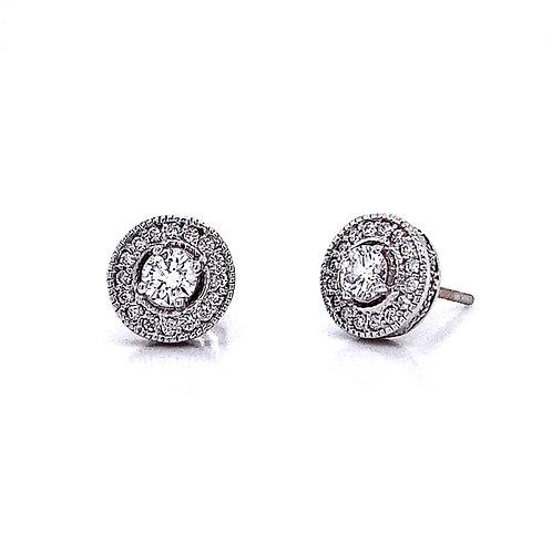 14kt White Gold 0.65ctw Round Diamond Vintage Style Halo Earrings