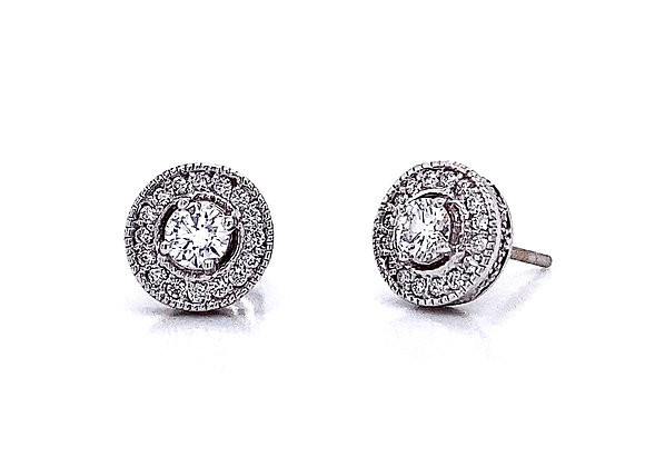 14kt White Gold 0.65ctw Round Diamond Vintage Style Halo Earrings