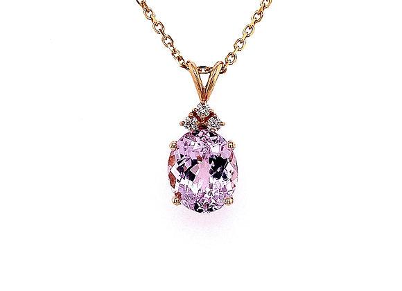 14kt Yellow Gold Oval Shape Kunzite Gemstone and Diamond Pendant