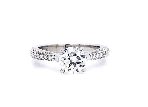 14kt White Gold 1.29ctw Round Diamond Side Stone Ring