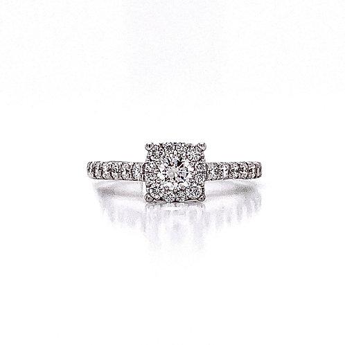 14kt White Gold Ladies 0.76ctw Round Diamond Hybrid Halo Ring