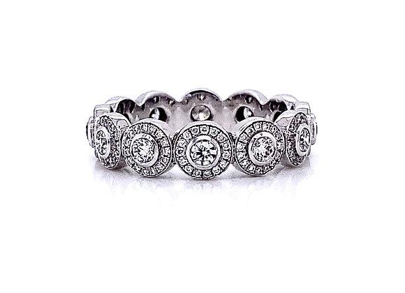 14kt White Gold Ladies Round Diamond Mini Halo Eternity Band