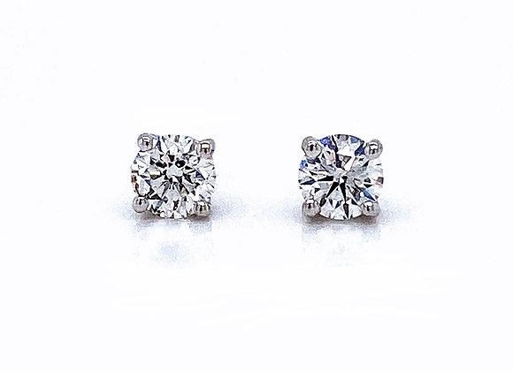 14kt White Gold Ladies 0.61ctw Round Diamond Stud Earrings