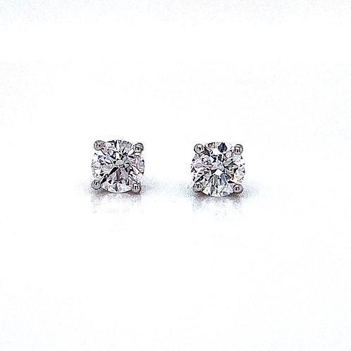 14kt White Gold Ladies 0.84ctw Round Diamond Stud Earrings