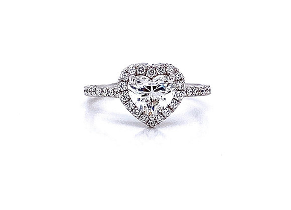 14kt White Gold Ladies 1.20ctw Heart Shape Diamond Halo Ring
