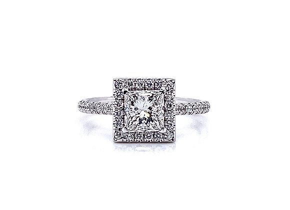 14kt White Gold 1.01ct Princess Cut Diamond Halo Ring