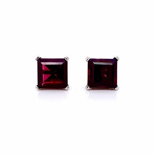 14kt White Gold Ladies 6.34ctw Square Cut Garnet Gemstone Earrings