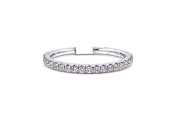 14kt White Gold Ladies Round Diamond Straight Band