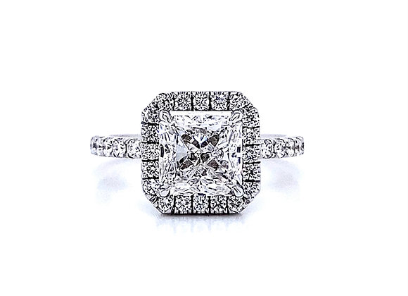 14kt White Gold Ladies 2.00ct Radiant Cut Diamond Halo Ring