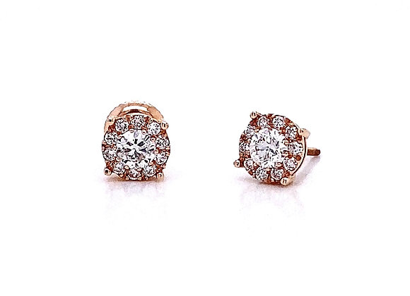 14kt Rose Gold 0.64ctw Round Diamond Halo Earrings