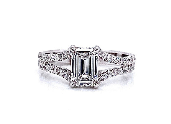14kt White Gold 0.87ct Emerald Cut Diamond Side Stone Ring