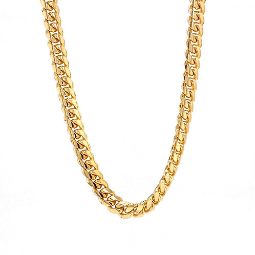 """14kt Yellow Gold 24"""" 4mm Miami Cuban Link Chain"""