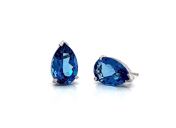 14kt White Gold Ladies 8.07ctw Pear Shape Blue Topaz Gemstone Earrings