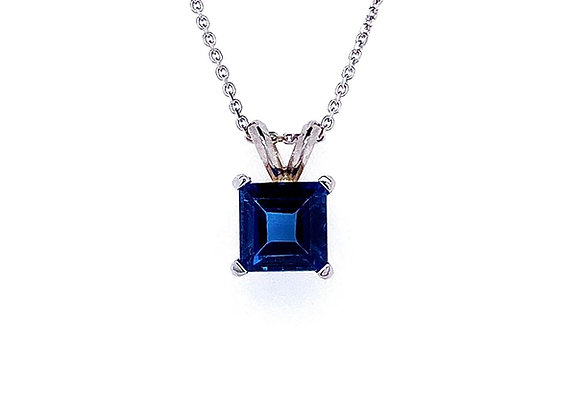 14kt White Gold Ladies Square Cut Blue Topaz Solitaire Pendant