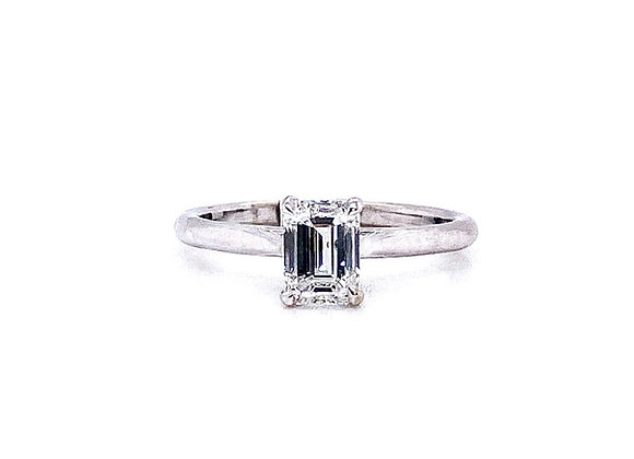 14kt White Gold 1.00ct Emerald Cut Diamond Solitaire Ring