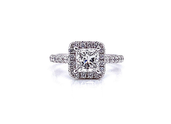 14kt White Gold 1.07ct Princess Cut Diamond Halo Ring