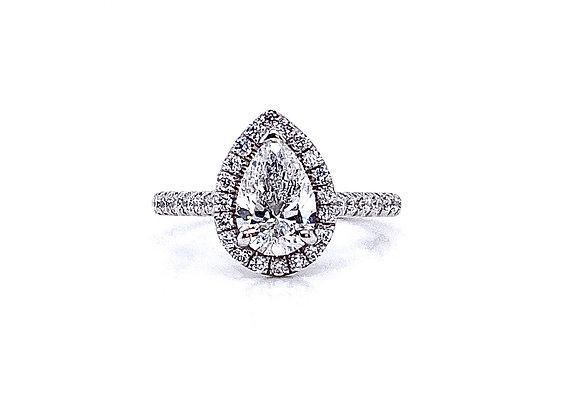 14kt White Gold 1.01ct Pear Shape Diamond Halo Ring